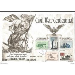J) 1965 UNITED STATES, MASONIC GRAND LODGE, CIVIL WAR CENTENNIAL, EAGLE, THAT THESE DEAD