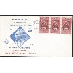 J) 1971 UNITED STATES, MASONIC GRAND LODGE, COMMEMORATING 175th ANNIVERSARY LAFAYETTE LODGE