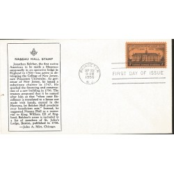 J) 1956 UNITED STATES, MASONIC GRAND LODGE, 200th ANNIVERSARY OF NASSAU HALL, FDC