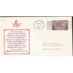 J) 1937 UNITED STATES, MASONIC GRAND LODGE, 170th ANNIVERSARY OF ANDREW JACKSON, THE HERO