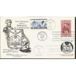 J) 1957 UNITED STATES, MASONIC GRAND LODGE, 200th ANNIVERSARY OF THE BIRTH MARQUIS DE LAFAYETTE, MULTIPLE STAMPS, FDC