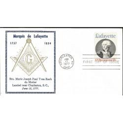 J) 1977 UNITED STATES, MASONIC GRAND LODGE, MARQUIS DE LAFAYETTE, BROTHER MARIE JOSEPH PAUL