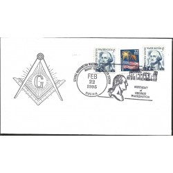 J) 1995 UNITED STATES, MASONIC GRAND LODGE, BIRTHDAY OF GEORGE WASHINGTON, FLAG, MULTIPLE STAMPS, FDC