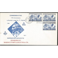 J) 1971 UNITED STATES, MASONIC GRAND LODGE, COMMEMORATING 175th ANNIVERSARY LAFAYETTE