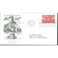 J) 1949 UNITED STATES, MASONIC GRAND LODGE, TWO HUNDREDTH ANNIVERSARY ALEXANDRIA VIRGINIA