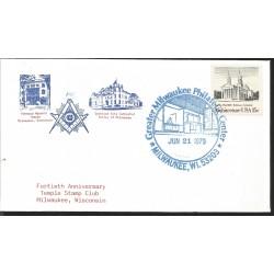 J) 1979 UNITED STATES, MASONIC GRAND LODGE, FORTIETH ANNIVERSARY TEMPLE STAMP CLUB MILWAUKEE