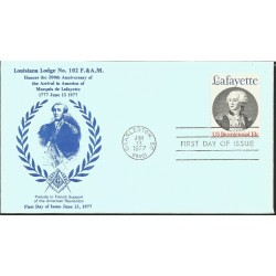 J) 1977 UNITED STATES, MASONIC GRAND LODGE, LOUISIANA LODGE N°102 F&AM, HONORS THE 200tH ANNIVERSARY