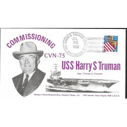 J) 1998 UNITED STATES, MASONIC GRAND LODGE, COMISSIONING USS HARRY S TRUMAN, CAPT THOMAS G OTTERBEIN, FLAG, FDC