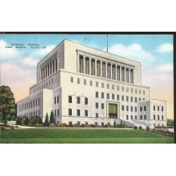 J) 1958 UNITED STATES, MASONIC GRAND LODGE, MASONIC TEMPLE, FORT WORTH, TEXAS, POSTCARD