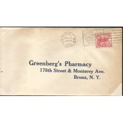 J) 1926 UNITED STATES, GREENBERG'S PHARMACY 178th STREET & MONTERREY AVE BRONX NY, FDC
