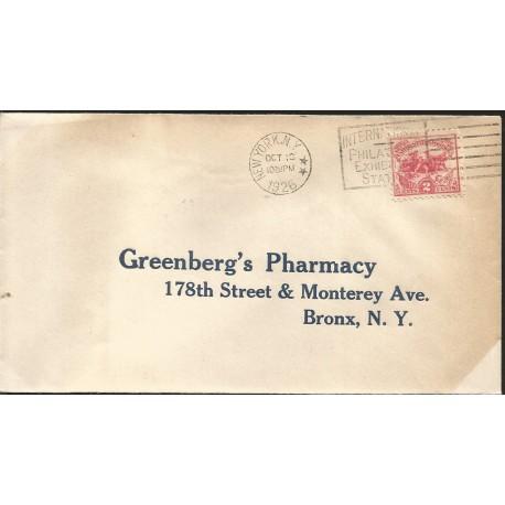 J) 1926 UNITED STATES, GREENBERG'S PHARMACY 178th STREET & MONTERREY AVE BRONX NY, FDC