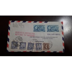 O) 1946 UNITED STATES - USA, POSTAGE DUE - RETURN TO SENDER, ROOSEVELT SC 933, JOSE ELLAURI SC 543, AIRMAIL TO MONTEVIDEO