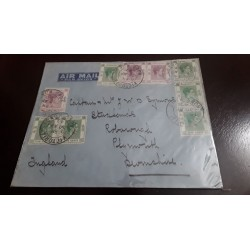 O) 1940 HONG KONG, KING GEORGE VI - SC 157 5c- SC 162 50c, AIRMAIL TO ENGLAND, XF