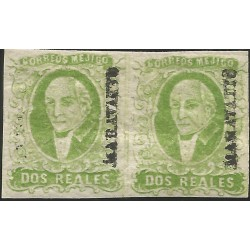 J) 1856 MEXICO, 2 REALES GREEN, PAIR, IMPERFORATED, MARAVATION, MN