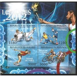 J) 2012 BURUNDI, JUDO, FOTBALL, TENIS TABLE, RACE BIKE, SOUVENIR SHEET