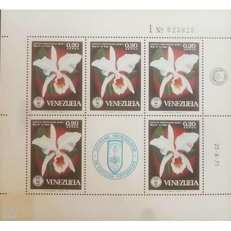 O) 1971 VENEZUELA, SOCIETY OF NATURAL HISTORY - FLOWER - CATTLEYA PERCIVALIANA - ORCHIDS, MNH