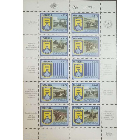 O) 1986 VENEZUELA, CITY POLICE - EMERGENCY MEDICAL - HELICOPTER -SECURITY EVENT - BAR CODE - CADETS ACADEMY . MOTORCYCLE, MNH