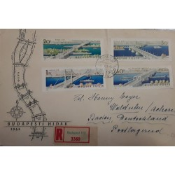 V) 1964 HUNGARY, OPENING OF THE RECONSTRUCTED ELIZABETH BRIDGE, BLACK CANCELLATION, MULTIPLE STAMPS, FDC