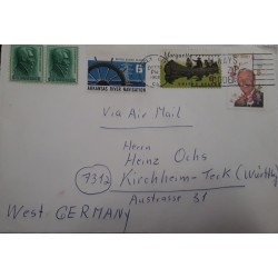 V) 1968 USA, MULTIPLE STAMPS, CIRCULATED COVER FROM USA TO GERMANY, OVERPRINT IN BLACK