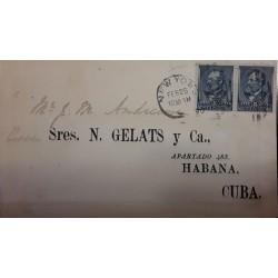 V) 1890 USA, FROM NEW YORK TO HAVANA, SC 216 PAIR