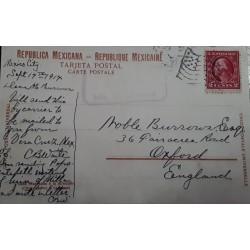 V) 1914 MEXICO, MEXICO CITY PRIVATELY CARRIED TO US, MEXICAN PPC TO ENGLAND, US MAIL FACILITY, VERACRUZ FLAG MACHINE CANCEL
