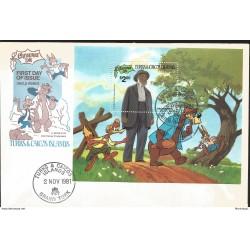 J) 1981 TURKS AND CAICOS ISLANDS, UNCLE REMUS, SOUVENIR SHEET, FDC
