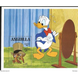 J) 1981 ANGUILLA, CHIP AND DALE, DONALD DUCK, SOUVENIR SHEET, MNH