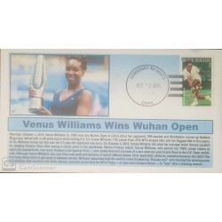 V) 2015 USA, VENUS WILLIAMS, WINS 2015 WUHAN OPEN IN CHINA, OVERPRINT IN BLACK, FDC