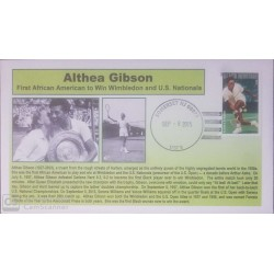 V) 2015 USA, ALTHEA GIBSON, FIRST AFRICAN AMERICAN TO WIN WIMBLEDON AND U.S NATIONALS, BLACK CANCELLATION, FDC