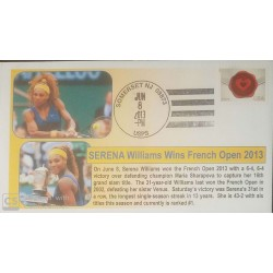 V) 2013 USA, SERENA WILLIAMS, WINS FRENCH OPEN 2013, TENNIS PLAYER, FOREVER STAMPS, BLACK CANCELLATION, OVERPRINT IN BLACK, FDC