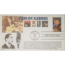 V) 2011 USA, CARLOS GARDEL, LATIN MUSIC LEGENDS, FOREVER STAMPS, BLACK CANCELLATION, OEVERPRINT IN BLACK, FDC