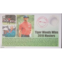 V) 2019 USA, TIGER WOODS WINS 2019 MASTERS, GOLF, FOREVER STAMPS, ODD SHAPE, RED CANCELLATION, FDC