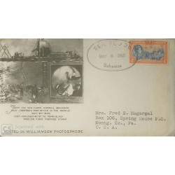 V) 1940 BAHAMAS, 100TH ANNIVERSARY OF THE PENNY BLACK, CIRCULATED COVER FROM BAHAMAS TO USA, CANCELLATION IN BLACK, FDC
