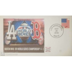 V) 2018 USA, BOSTON WINS 9TH WORLD SERIES CHAMPIONSHIP 4-1, USA FLAG, FOREVER, BLACK CANCELLATION, FDC