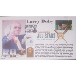 "V) 2012 USA, LAWRENCE EUGENE ""LARRY"" DOBY, PIONEER ON BOTH THE FIELD AND IN THE DUGOUT, BASEBALL, WITH SLOGAN CANCELATION, FDC"