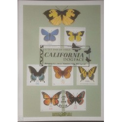 V) 2019 USA, BUTTERFLIES, CALIFORNIA DOGFACE, MULTIPLE STAMPS, BLACK CANCELLATION, WITH SLOGAN CANCELATION IN BLACK, FDC