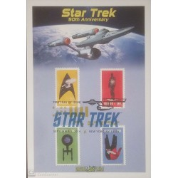 V) 2016 USA, STAR TREK, 50TH ANNIVERSARY, FOREVER STAMPS, WITH SLOGAN CANCELATION IN BLACK, FDC