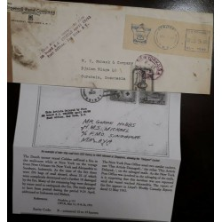 O) 1953 UNITED STATES USA, DELAYED BY FIRE BOARD S.S. VESSEL CELEBES - MAILROOM WHILE - FRANKING MACHINE - METER STAMP