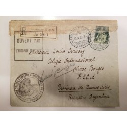 O) 1915 FRANCE, MILITARY AUTHORITY -MINISTRY OF WAR POSTAL CONTROL -OPEN -LAUSANNE CONSIGNMENT. HELVETIA SC 139 50c,