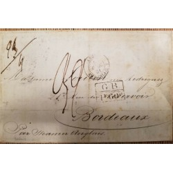 O) 1861 ARGENTINA - BUENOS AYRES, FRENCH MARITIME MAIL, G. B. - CALAIS, RATE MANUSCRIPT , PREPHILATELY, TO BORDEAUX