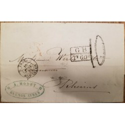 O) 1868 ARGENTINA - BUENOS AYRES, FRENCH MARITIME MAIL, G. B. - CALAIS, RATE MANUSCRIPT , PREPHILATELY - A. MODET, XF