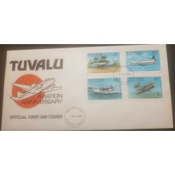 O-r) 1980 TUVALU, PLANE - AIR PACIFIC HERON FIRST REGULAR, AVIATION, HAWKER - SUNDERLAND FLYING BOAT  WAR TIME - ORVILLE