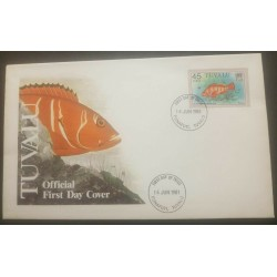 O -r) 1981 TUVALU, FISH - BLACK-TIPPED ROCK, FDC XF