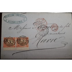 O) 1870 BRITISH OFFICE  B 32- BUENOS AYRES - DRUMILLONY CRENIAULT,  BUENOS AIRES, LONDON PAID. TO HAVRE - FRANCE, XF
