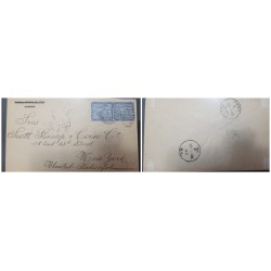 O) 1896 PANAMA COLOMBIA, MAP OF PANAMA  - SC 17 5c, P.O N.Y CANCELLATION RECEIVED - PAID ALL - F. N.Y., MUTE AND CIRCLE