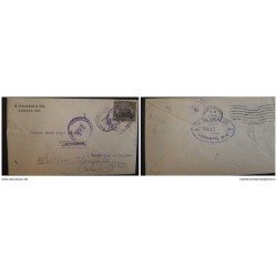 O) 1916 NICARAGUA, TRAVELLING POST OFFICES. LEON CATHEDRAL SG 406 3c on 6c OVERPRINTED, TIED BY CORINTO, TO CRISTOBAL
