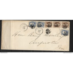 O) 1873 APROX. UNITED STATES-USA-FROM ATLANTA, FRANKLIN 1c BLUE - JACKSON 2c BROWN, PENALTY FRANKS EXCEPT POST OFFICE,