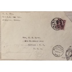 J) 1913 CHINA, REAPING RICE, AIRMAIL, CIRCULATED COVER, FROM SHANGHAI TO NEW YORK