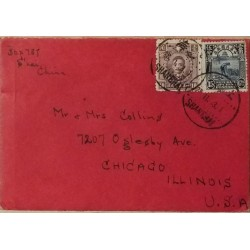 J) 1914 CHINA, REAPING RICE, MULTIPLE STAMPS, AIRMAIL, CIRCULATED COVER, FROM CHINA TO USA