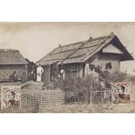 J) 1910 INDOCHINA, POSTCARD, HOUSE AND PEOPLE, XF